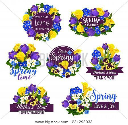 Spring Flower Icon With Ribbon Banner For Mother Day And Springtime Holiday Greeting Card Template.