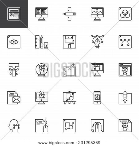 Design And Creative Outline Icons Set. Linear Style Symbols Collection, Line Signs Pack. Vector Grap