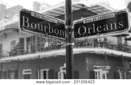 Bourbon Street Sign At The Corner Of Orleans, In The French Quarter