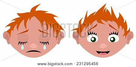 New Draw Cartoon Head Cries And Laughs Vector Illustration
