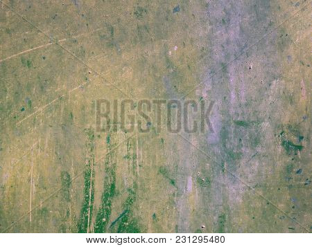 Grunge Texture Old Stone Wall Greenish Color With Yellow Spots, Covered With Scratches, Matte Faded
