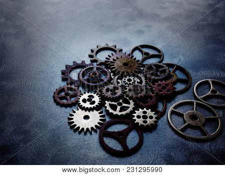 Assorted Colorful Metal Grunge Gears And Wheels