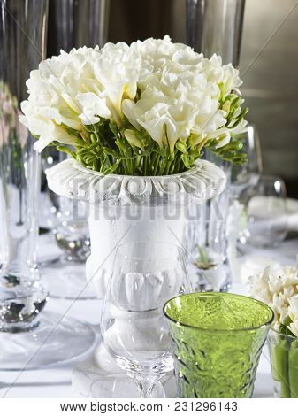 Decoration Of Wedding Table. Bouquet Of White Flowers Of Anemone