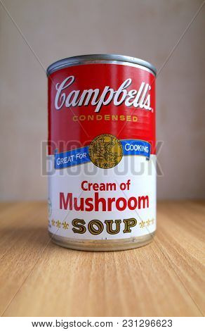 Bracknell, England - March 15, 2018: A Tin Can Of Campbells Condensed Cream Of Mushroom Soup Photogr
