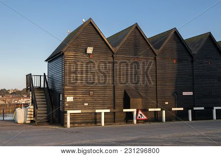 Whitstable, Kent, Uk - Dec 9: Former Fishermans Huts Converted Into Holiday Accommodation At Whitsta
