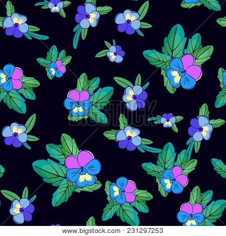Cute Pansies On Black Background. Floral Seamless Pattern With Flowers Of Different Colors.summer An