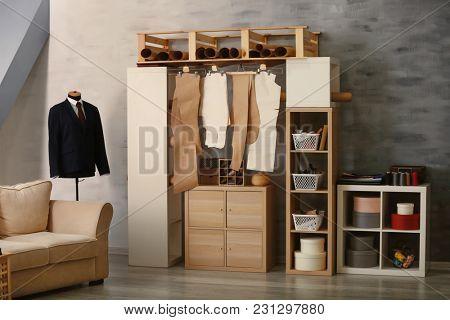 Interior of modern tailor's workshop