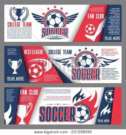 Soccer College Team Of Football Fan Club Banners Design Template. Vector Soccer Ball On Arena Stadiu