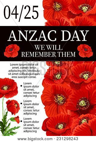 Anzac Day Lest We Forget Greeting Card Of Poppy Flowers For 25 April Australian And New Zealand War
