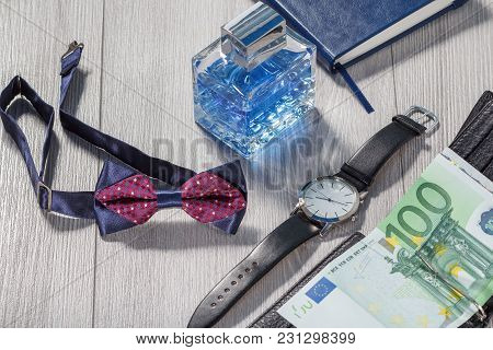 Man Perfume, Watch With A Black Leather Strap, Bow Tie, Notebook And Black Leather Wallet With Euro
