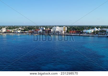 San Miguel, Cozumel - From The Perspective Of Cruise Terminal San Miguel, Cozumel, Mexico