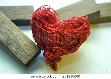 The Red Decorative Heart Lies In The Rines. Destroyed Love.