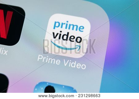 Sankt-petersburg, Russia, March 15, 2018: Amazon Prime Video Application Icon On Apple Iphone X Scre