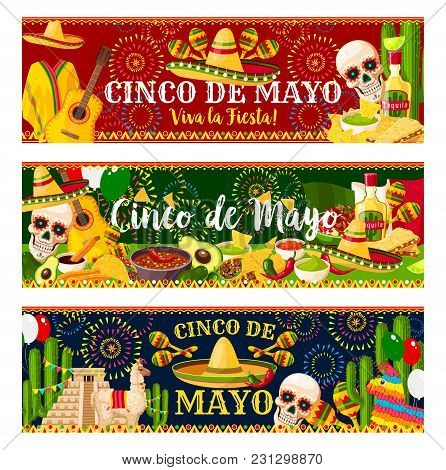 Cinco De Mayo Fiesta Celebration Banners Of Tequila, Jalapeno Pepper Or Cactus And Guitar. Vector Tr