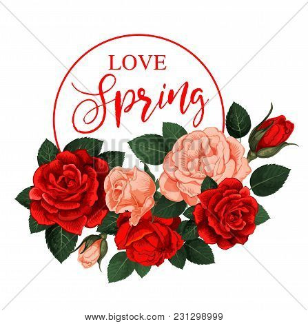 Spring Time Holiday And Springtime Flowers For Seasonal Greeting Card And Wish Quote Design. Vector