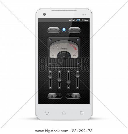 Carbon Ui Application Software Controls Set. White Smartphone. Speedometr, Indicator, Detector, Led.
