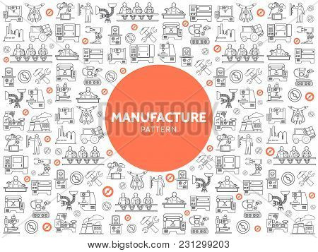 Production Linear Icons Pattern With Industrial Equipment Machineries Robotic Arms Technician Engine