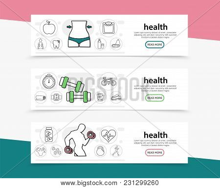 Healthy Lifestyle Horizontal Banners With Slim Waist Fruits Scales Sport Equipment Strong Man Stopwa