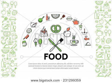 Food Line Icons Composition With Different Drinks Sausage Pretzel Fruits Chicken Fish Sweet Products