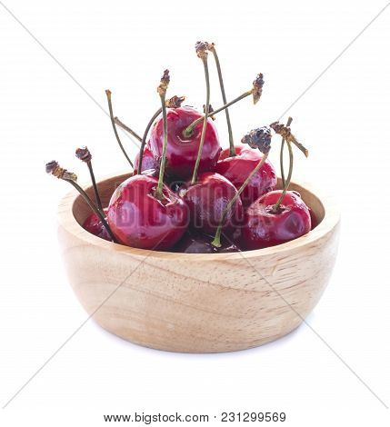 Cherries Close Up Isolated On White Background