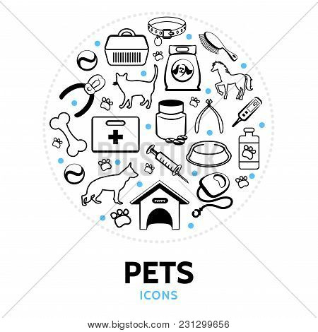 Pets Line Icons Round Concept With Cat Dog Horse Doghouse Carrier Collar Comb Syringe Bone Feed Bowl