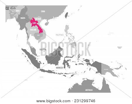 Vector Map Of Laos. Pink Highlighted In Southeast Asia Region.