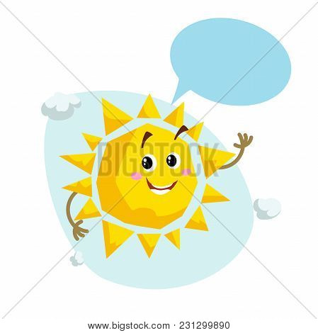 Cartoon Smiling Sun Mascot. Weather And Summer Symbol. Shinning And Speaking Character With Dummy Sp