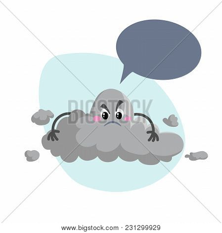 Cartoon Overcast Storm Cloud Mascot. Weather Rain  And Storm Symbol. Speaking Character With Dummy S