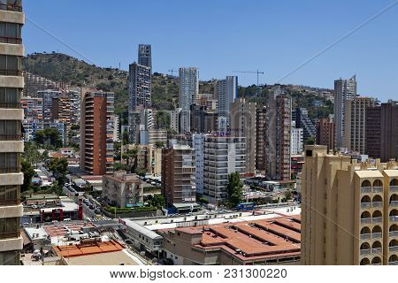 Benidorm, Spain - December 20, 2015: Benidorm Is A Coastal City In Alicante. Benidorm Is A Major Bea