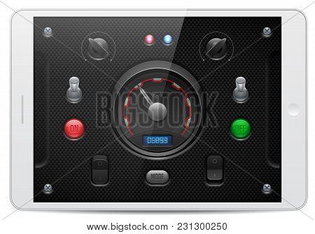 Carbon Ui Application Software Controls Set. White Tablet Pad. Tachometer, Indicator, Detector, Led.
