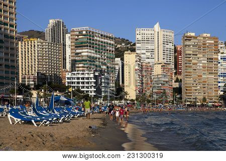 Benidorm, Spain - December 20, 2015: Beach Of Benidorm Is A Coastal City In Alicante. Benidorm Is A