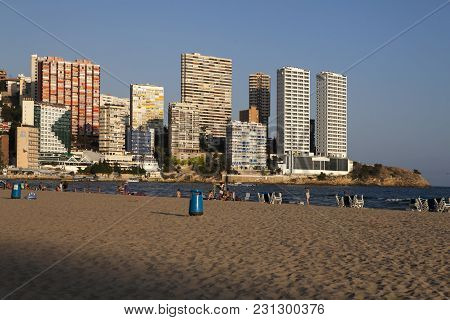 Benidorm, Spain - December 20, 2015: Beach Of Benidorm. Benidorm Is A Coastal City In Alicante. Beni