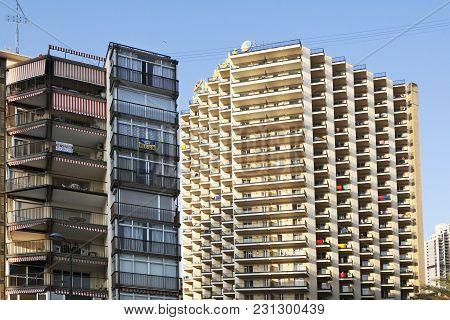 Benidorm, Spain - July 20, 2015:  Benidorm Is A Coastal City In Alicante. Benidorm Is A Major Beach