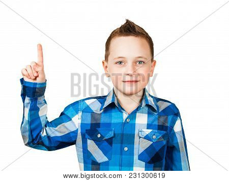 Portrait Boy, Wearing T-shirt Pointing Finger Up. Isolated On White Background