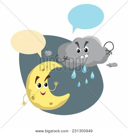 Cartoon Smiling Crescent And Storm Cloud Mascots. Weather  Symbol. Moon And Rain Speaking Character.