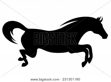 Jumping Horse Black Silhouette - Side View Vector Design