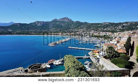 Look At The Town Of Calvi And Its Port. Much Visited By Tourists Town Is Town Of Calvi, Corsica. Pho