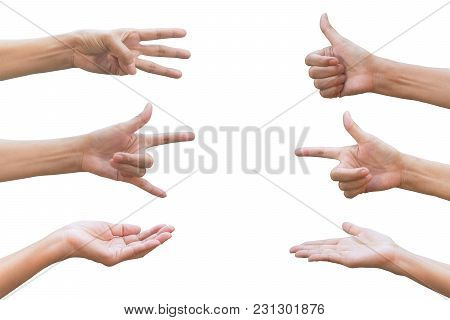 Set Of Hand Gesture And Sign Collection Isolated On White Background. Multiple Hand Gestures.