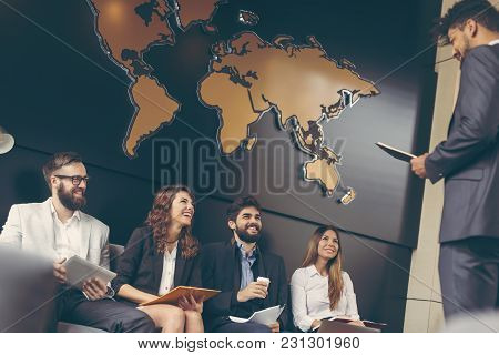 Business People Waiting For A Job Interview In A Modern Office Building, Next Candidate Being Invite