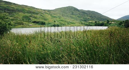 Lake And Green Hills. A Scenic View Of A Kerry Mountains And Surrounding Areas In County Kerry. Aged
