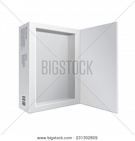 Opened White Modern Software Package Box For Dvd, Cd Disk Or Other Your Product Eps10