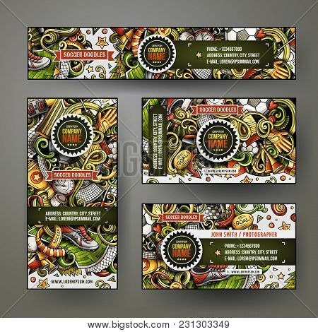 Corporate Identity Vector Templates Set Design With Doodles Hand Drawn Football Theme. Colorful Bann