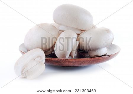 Champignon Close Up Isolated On White Background