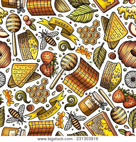 Cartoon Cute Hand Drawn Honey Seamless Pattern. Colorful Detailed, With Lots Of Objects Background.