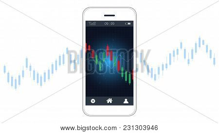 Smart Phone Screen Showing Candlestick And Financial Graph Charts, Global Network Connection And Bus