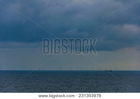 Windmills In The Sea In The Germany