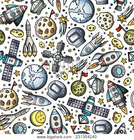 Cartoon Hand-drawn Space, Planets Seamless Pattern. Lots Of Symbols, Objects And Elements. Perfect F
