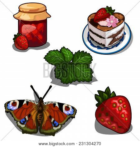 Sweet From The Strawberries. European Peacock Butterfly (inachis Io). Vector Illustration.