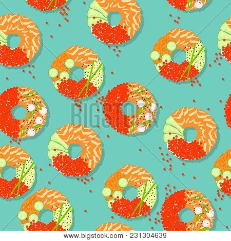 Sushi Donuts. New Food. Seamless Pattern With Sushi In The Form Of A Donut. Yummy Background With Fi
