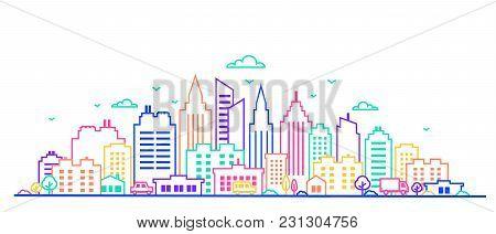City Landscape. Thin Line City Landscape In Neon Glow Vivid Colors.. Downtown Landscape With High Sk